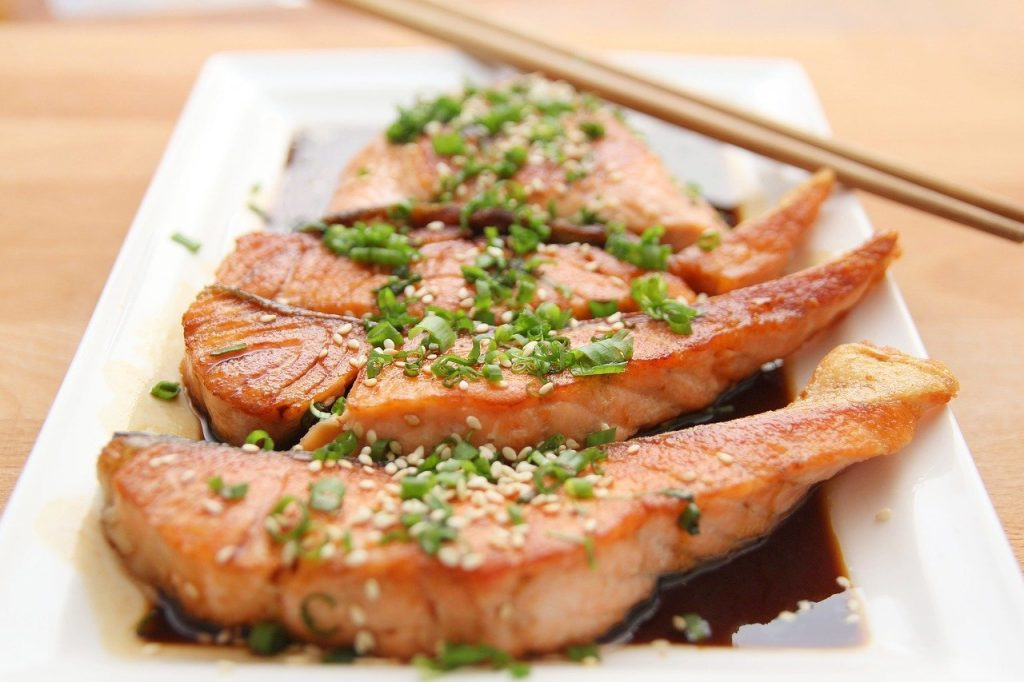 food, salmon, teriyaki