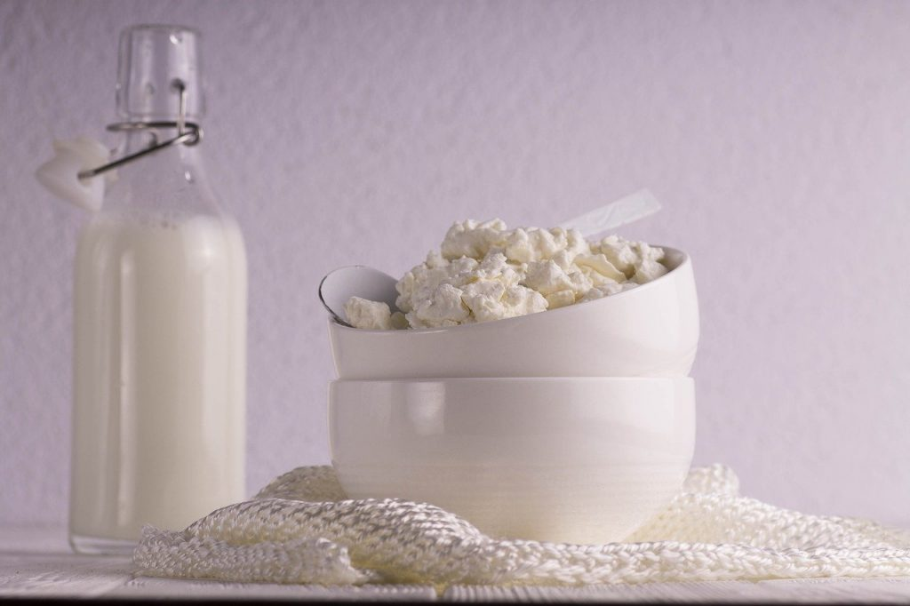 table, milk, cottage cheese