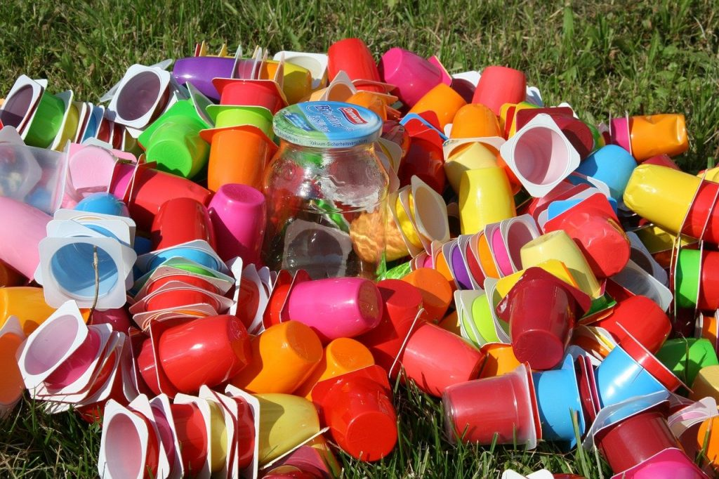 garbage, plastic cups, recycling