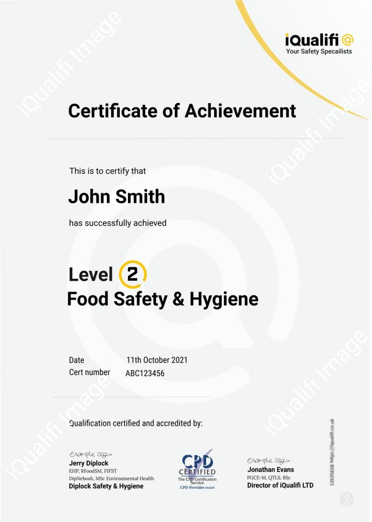 Level 2 Food Hygiene Certificate